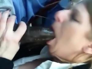 Horny milf sucking a big black cock and swallows his cum