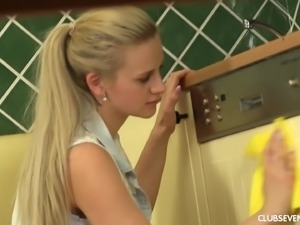 Katy Sky in short cleaning houses before masturbating