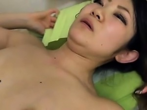 Small Asian slut getting her hairy pussy