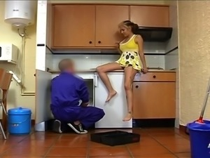 Noa gets her knees dirty in the kitchen and has her cunt ruined