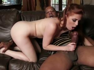 Happy bosomy redhead Penny Pax wanks and sucks strong BBC