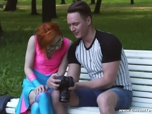 Cute ginger babe Kira Roller drops on her knees for a fat prick