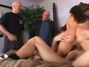 Brunette beautiful wife enjoys rimjob and doggy style pounding