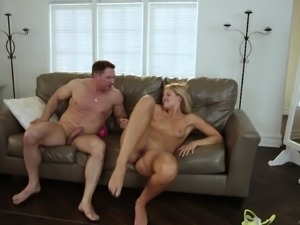 Nasty man gets to penetrate blonde chick Scarlet Red