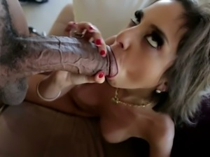 Amazing slender and buxom brunette Shane Diesel blows super fat long BBC