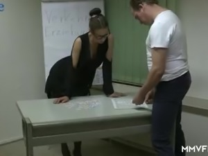Horn-mad nerdy Valeria Jones gets lured by co-worker and fucked properly