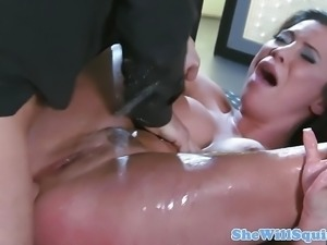 Busty big ass squirting babe masturbating
