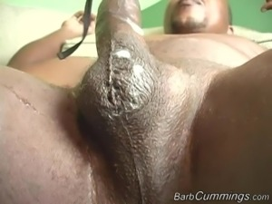 Barb Cummings bends over for a couple of massive black dicks