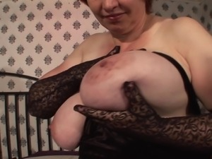 Fat chick Francina wears stockings while masturbating