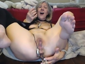 Busty blonde mature masturbation with sextoy
