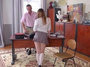 Naughty collegegirl Olivia Grace goes to her favorite teacher to ask for some