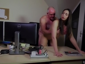 Old man's penis is all a cute brunette is craving to feel