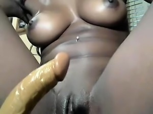 Beautiful amateur ebony girl toys with her ass and pussy
