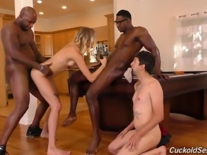 Haley Reed fucks a black lover in front of an obedient cuckold