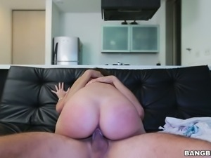 Long haired too emotional Sara Bolivar jumps on strong big dick