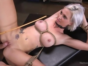 bound blonde has a super strong orgasm
