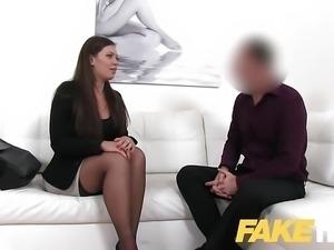 Fake Agent Smartly dressed brunette fucks casting agent