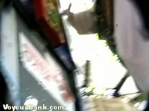 Sweet white stranger girl got her panties filmed upskirt secretly