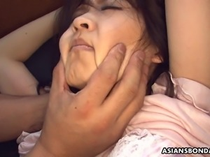 Bound and blindfolded Asian got toyed in the moving train