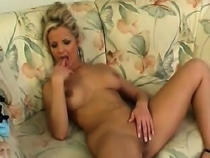 Busty blonde striptease and masturbation