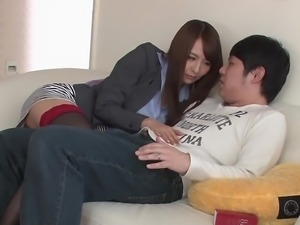 Cute Japanese woman in curious about a lover's big dick