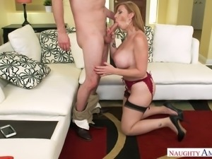Sexy MILF Sara Jay enjoys being naughty and she has got a delicious pussy