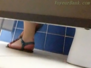 Some white mature ladies spied with voyeur camera in the toilet room