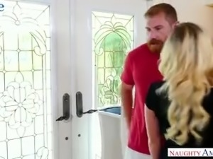 Whorish blonde with sexy tan lines Bailey Brooke hooks up with one bearded dude