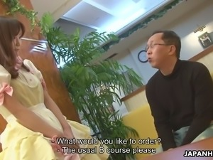 special japanese waitress shino tanaka gives bj to a client and gets a mouthful