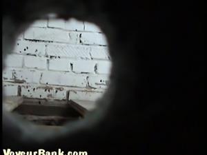 White chick in black pants filmed on hidden camera