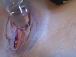 Kinky closeup of moist sexy pussy of my friend's lusty girlfriend