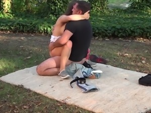 Outdoor sex session with alluring cutie Candice Cox