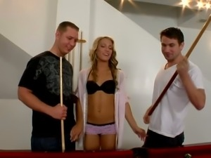 Sexy babe Britney Pierce hates playing pool but she likes giving blowjobs