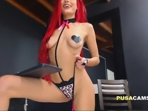 Neon Redhead Skinny Teen Squirting Shaved Pussy Orgasm