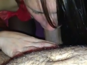 Dark haired GF of my friend is totally into sucking his dick