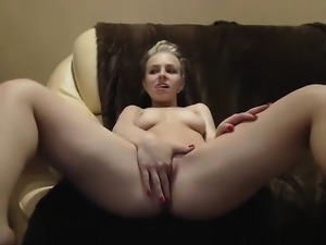 Cute busty blonde fingering on webcam