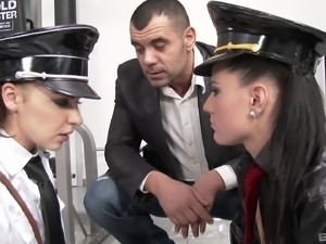 Henessy and Athina Love are babes in uniforms in need of a threesome