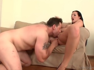 Carmen Croft's amazing tits covered in semen by a horny lover