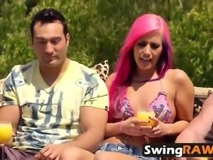 Kinky swingers having fun naked