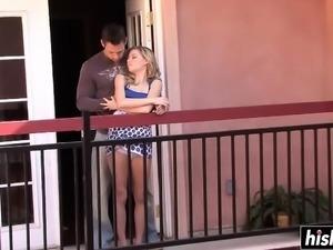 Beautiful blonde babe fucks on the balcony