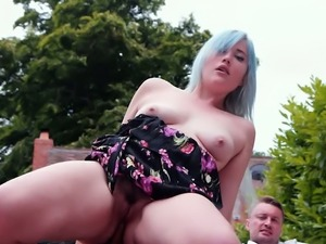 Misha Mayfair is a perfect blue haired busty beauty who loves 3some