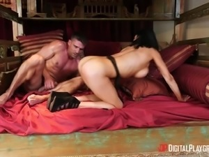Pretty brunette Audrey Bitoni spreads her legs for a shag