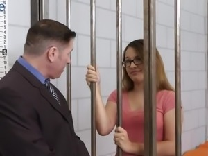 Jailed nerdy nympho Callie Klein provides her attorney with a good BJ