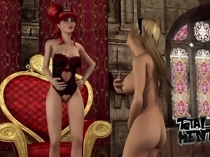 Horn-mad redhead wears strapon to fuck lusty princess at once