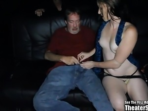 Tall Lactating Brunette Slut Gang Fucked in Theater