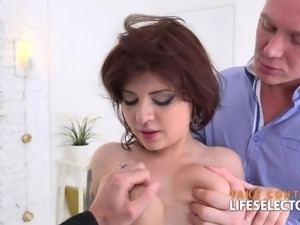 angelin joy - pleasing two cocks