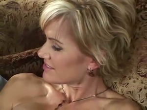 Magnificent elegant blonde milf with big breasts blows dick