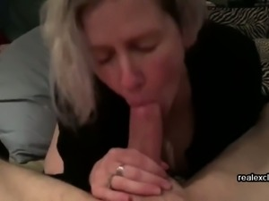 Mia 52 sucking cock of a student