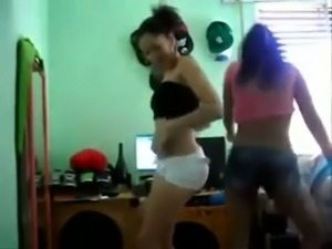 Two sexy Turkish girls dancing seductively on webcam