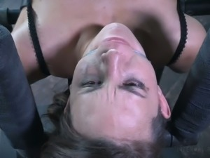 Natural tied up with belts brunette in nylon stockings flashes her bald cunt